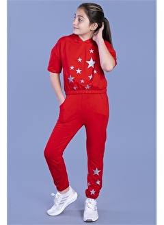 Toontoy Kids Toontoy Kids Kapüşonlu Kısa Kol Reflektörlü Yıldız Baskılı Kız Çocuk Eşofman Takımı